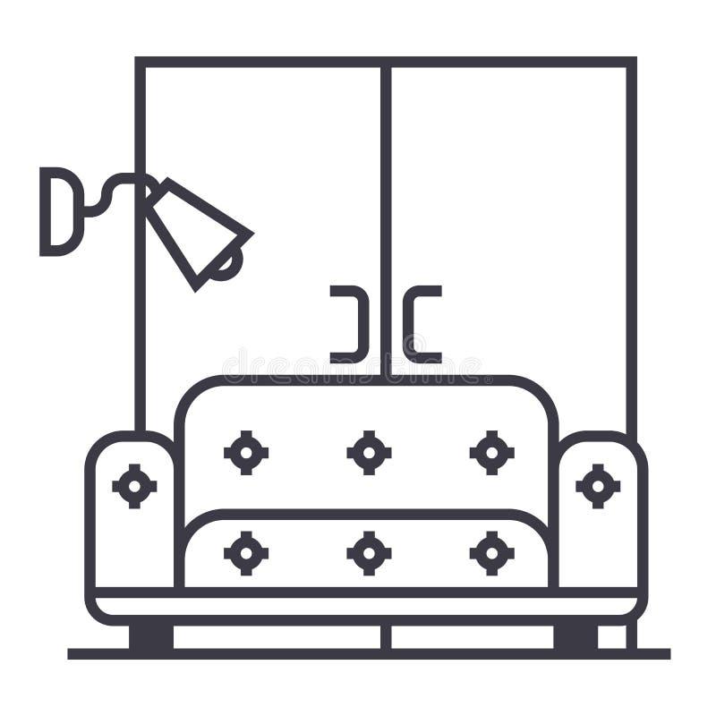 Salone, sofà, linea icona, segno, illustrazione di vettore del guardaroba su fondo, colpi editabili royalty illustrazione gratis