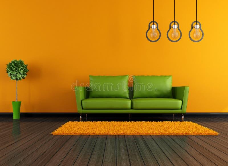 Salone verde ed arancio moderno illustrazione vettoriale