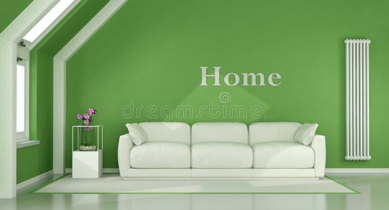 Salone verde nella soffitta illustrazione vettoriale
