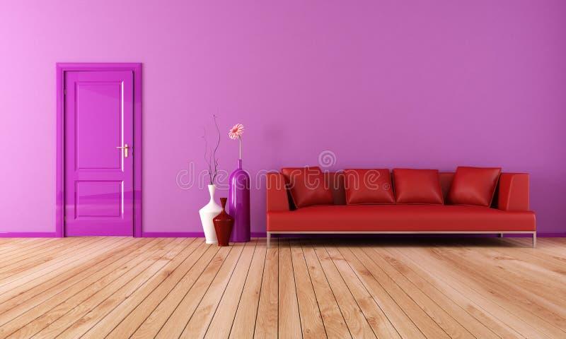 Salone viola e rosso illustrazione di stock