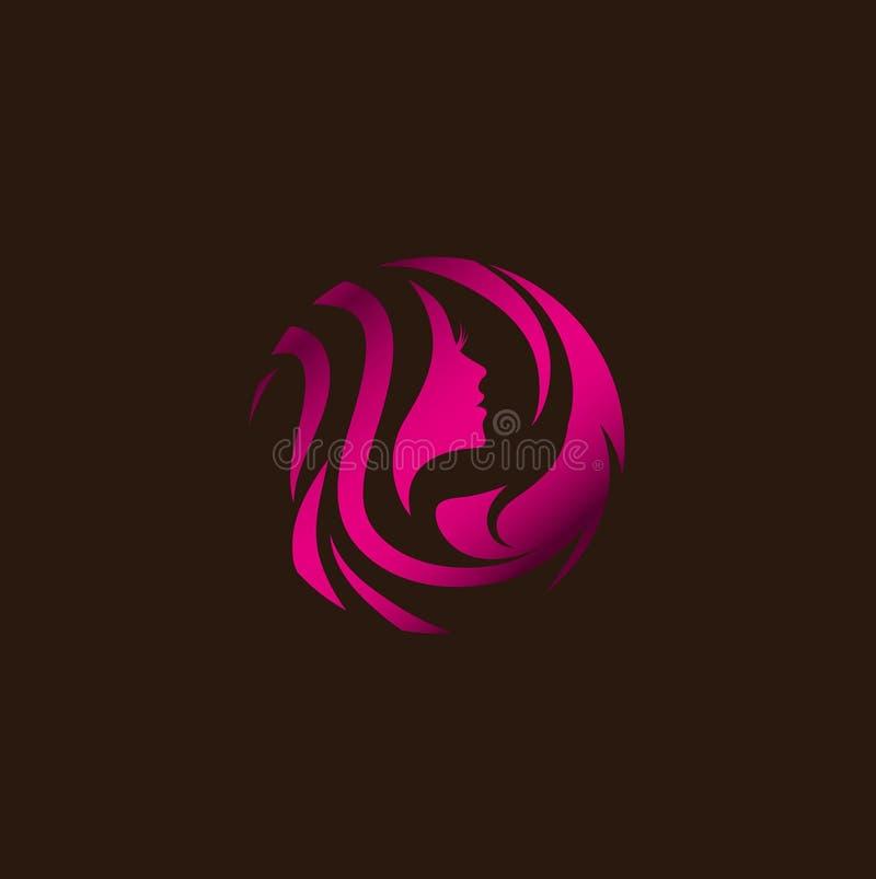 Salong för kvinnaskönhethår Logo Design vektor illustrationer