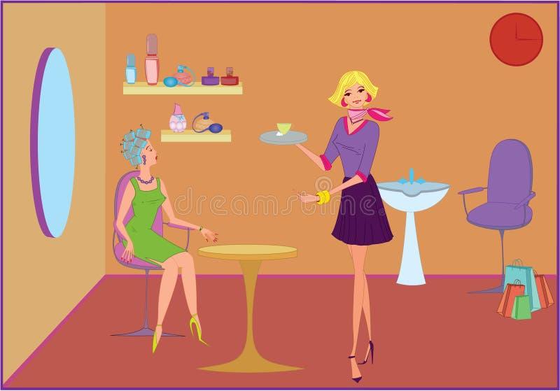 salong för skönhetkaffeerbjudande royaltyfri illustrationer