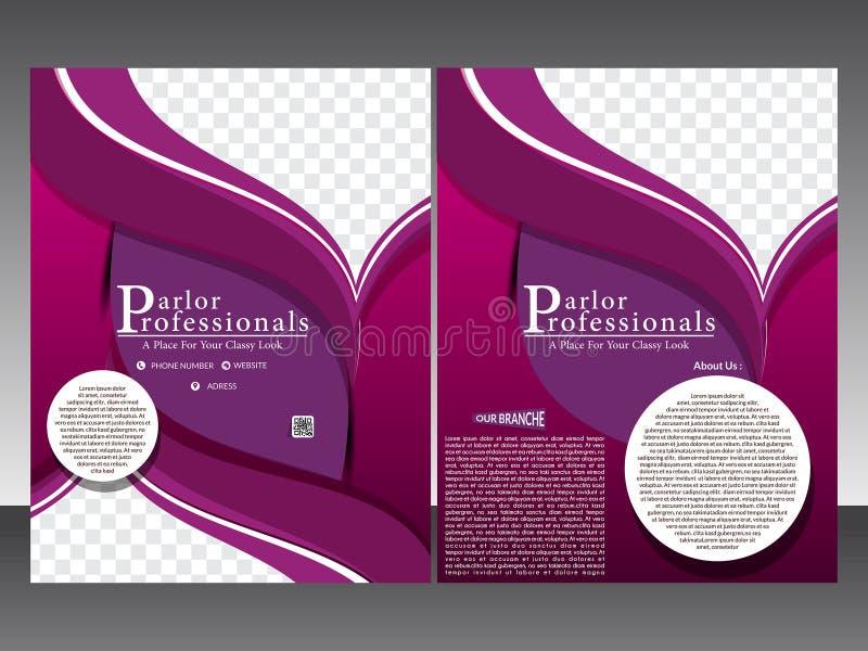 Salong och mall för mottagningsrumreklamblad- & tidskriftdesign royaltyfri illustrationer