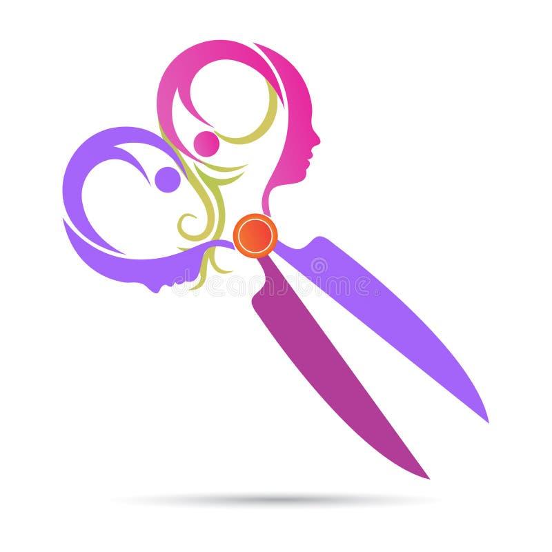 Salonglogoen scissor design för symbol för vektor för hjälpmedel för brunnsort för frisyrstilkosmetolog royaltyfri illustrationer