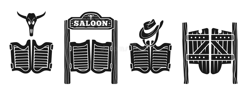 Salongsymbolsuppsättning, enkel stil royaltyfri illustrationer