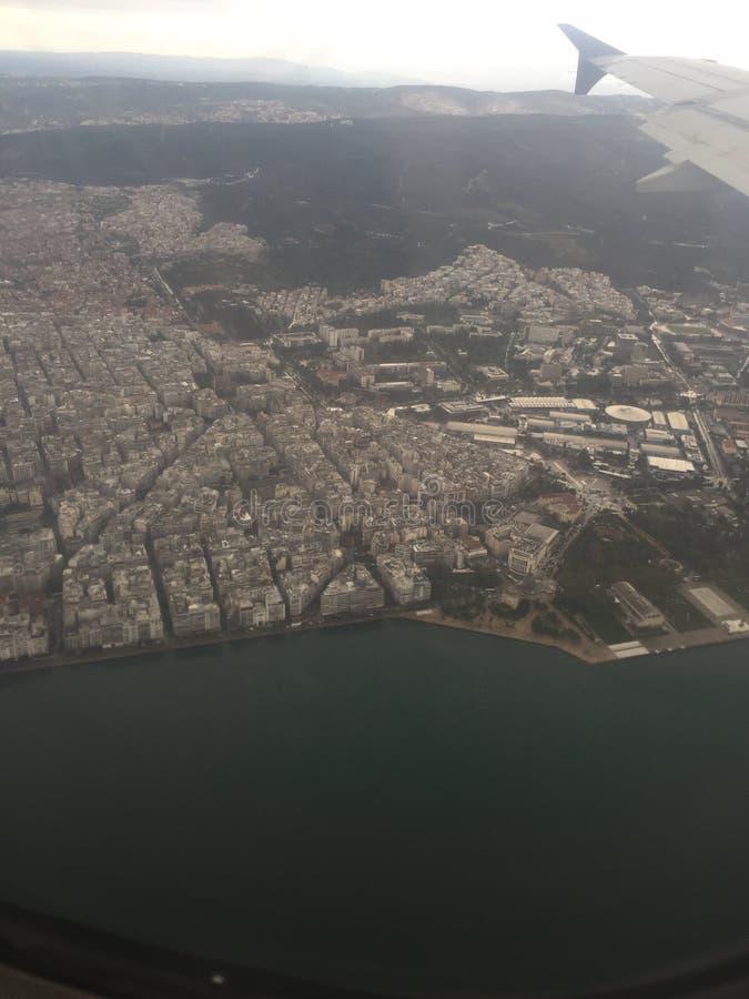Salonicco in aeroplano fotografia stock libera da diritti