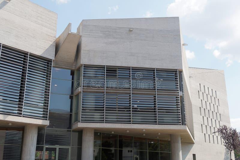 Salonicco, Grecia - 4 settembre 2016: Dettaglio della costruzione del comune di Salonicco fotografia stock libera da diritti