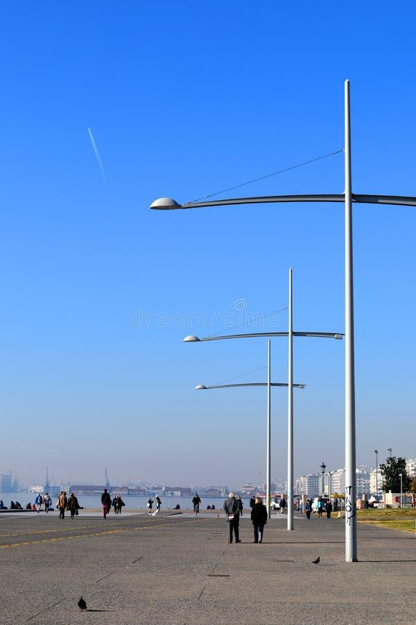 Saloniki Grecja, Grudzień, - 28 2015: Saloniki nabrzeże i, fotografia royalty free