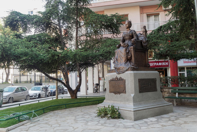 Saloniki Grecja, Wrzesień, - 13 2016: Olga Constantinovna Rosja statua zdjęcie stock