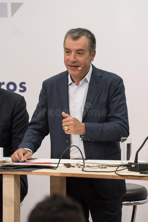 SALONIKI, GRIECHENLAND - 13. SEPTEMBER 2017 Griechischer Führer von polit lizenzfreies stockfoto