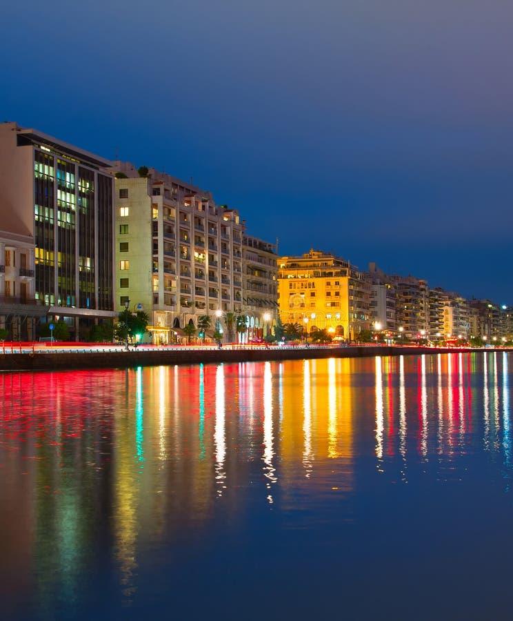 Saloniki quayside przy zmierzchem, Grecja zdjęcie stock