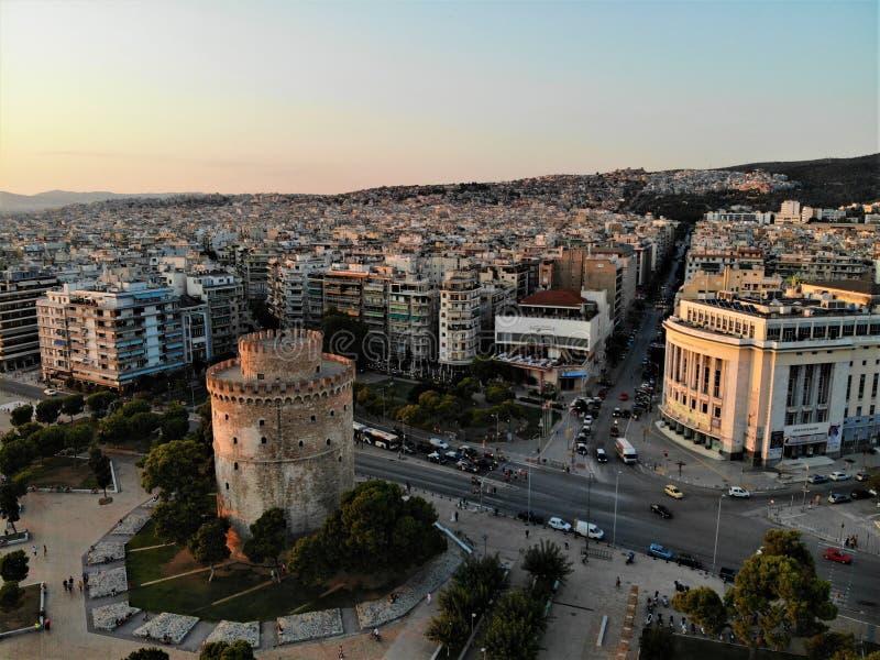Saloniki wieczór centrum miasta widok fotografia royalty free