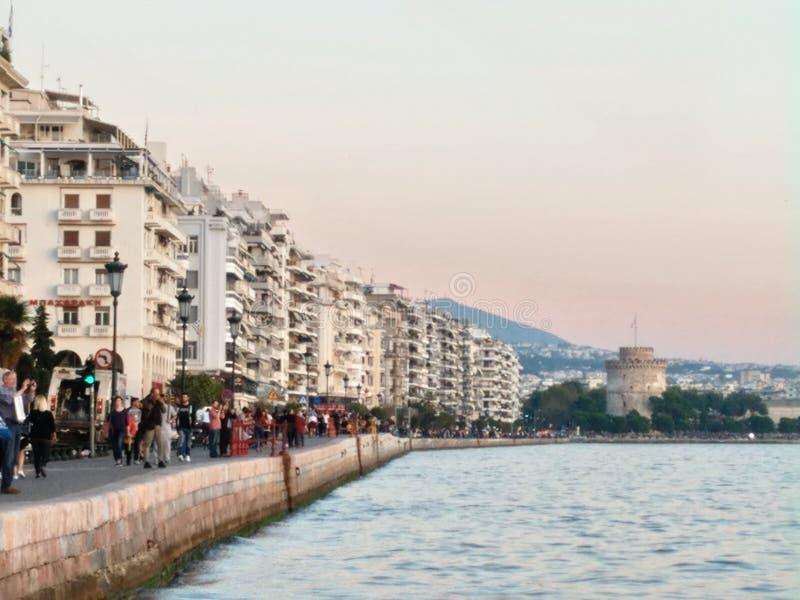 Salonique Grèce, tour blanche image stock