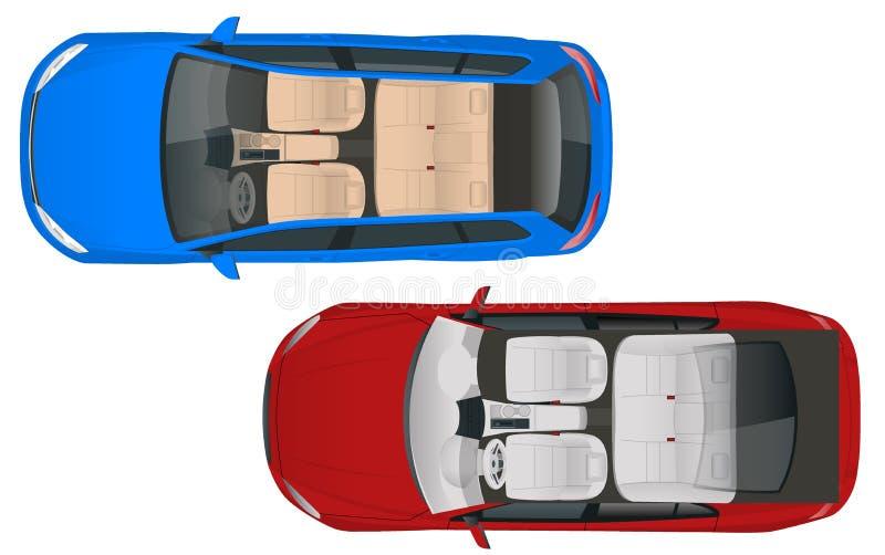 Salonu furgonu i salonu sedanu samochodowy samochodowy widok od above, wektorowa ilustracja Ścisły Hybrydowy pojazd Życzliwa tech ilustracji