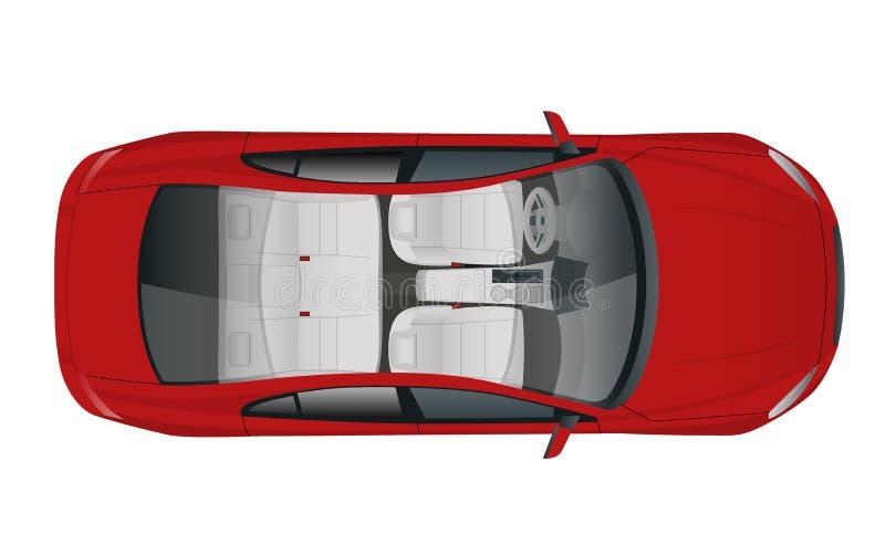 Salonu sedanu Samochodowy widok od above, wektorowa ilustracja ilustracja wektor