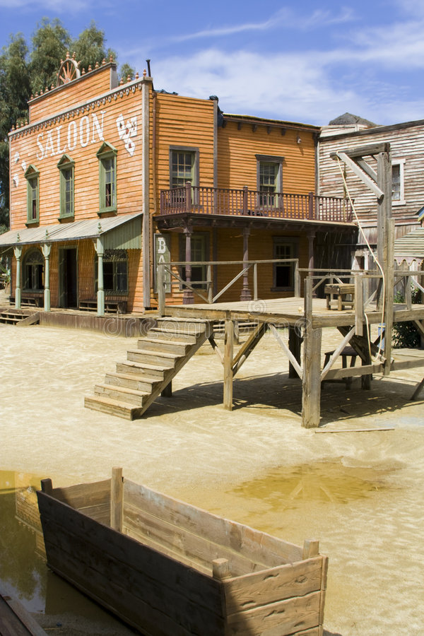 The saloon. Western scenery with saloon. Vertical shot royalty free stock image