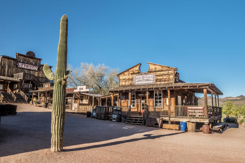 Saloon and bakery in Goldfield Ghost town near Phoenix, Arizona stock photo