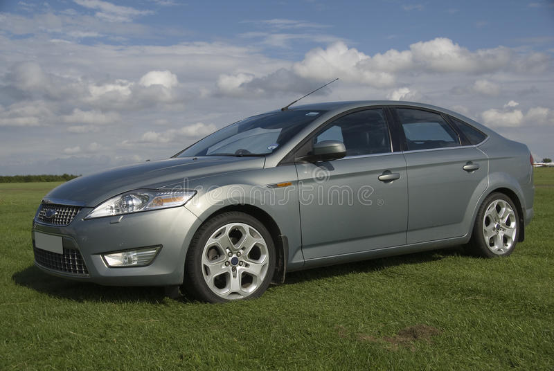 Saloon car. Four door saloon car in Thunder grey royalty free stock images