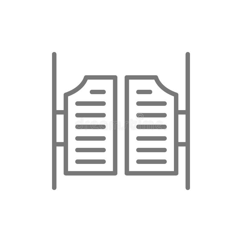 Saloon door line icon. vector illustration