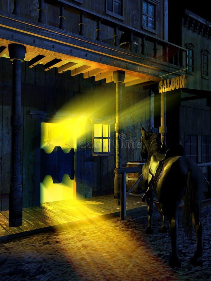 Free Saloon Entrance At Night Stock Image - 141574431