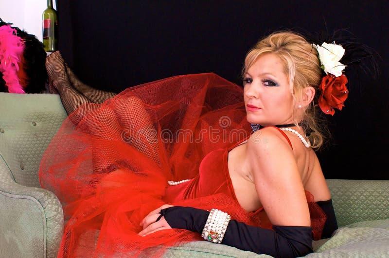 Saloon girl on sofa