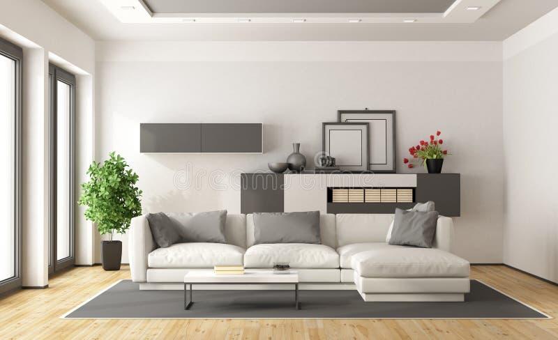 Salotto Contemporaneo Moderno : Salotto moderno bianco e grigio illustrazione di stock