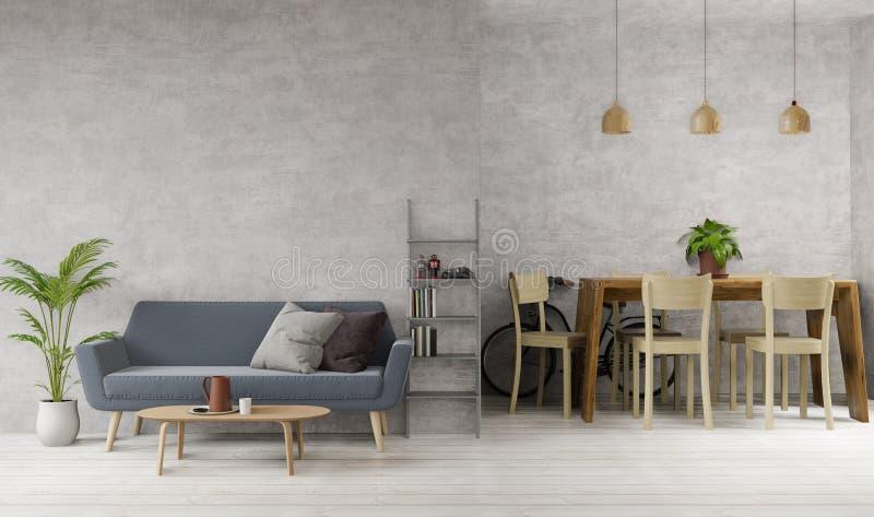 Salotto in stile Loft e sala da pranzo con calcestruzzo grezzo, pavimento in legno, divano, banco da pranzo, lampade,immagine per illustrazione di stock