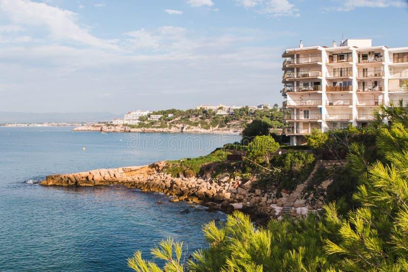 Salou beach in summer. Province of Tarragona, Catalonia, Spain stock image