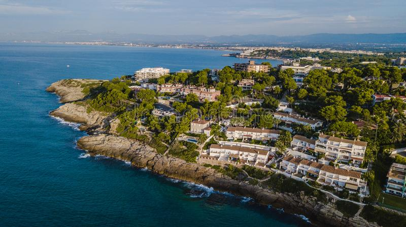 Salou, Costa Dorada beach. Hotels and resorts. Travel destination in Spain royalty free stock images