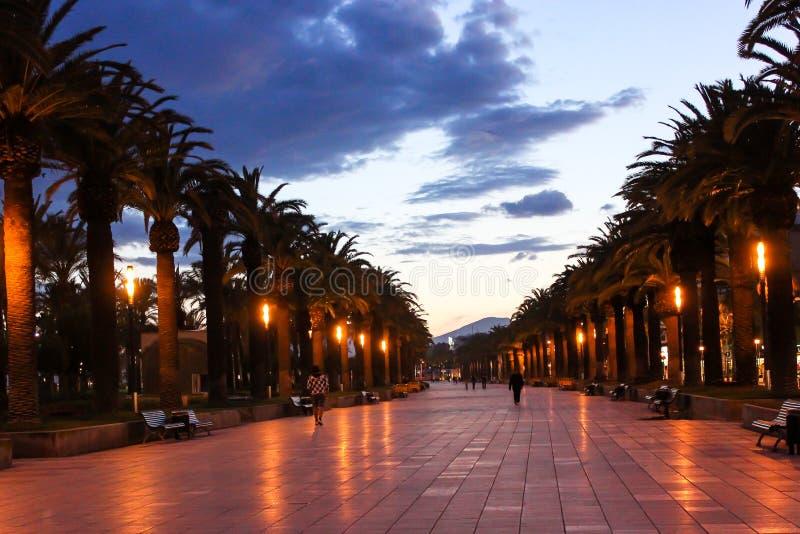 Salou promenade. Quay in the night lights in Spain in Salou royalty free stock image