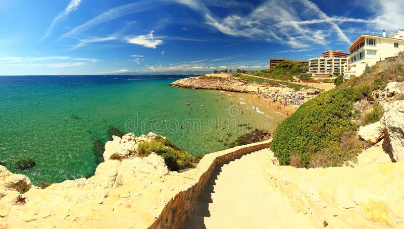Salou resort town coastline stock photos