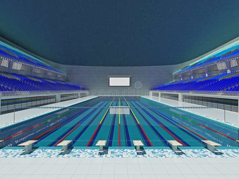 Salowa Olimpijska pływackiego basenu arena z błękitnymi siedzeniami royalty ilustracja