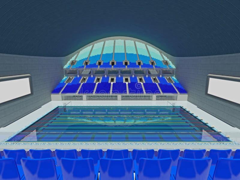 Salowa Olimpijska pływackiego basenu arena z błękitnymi siedzeniami ilustracji