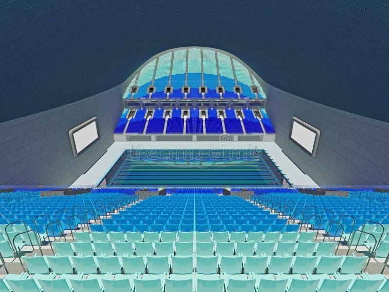 Salowa Olimpijska pływackiego basenu arena z błękitnymi siedzeniami ilustracja wektor