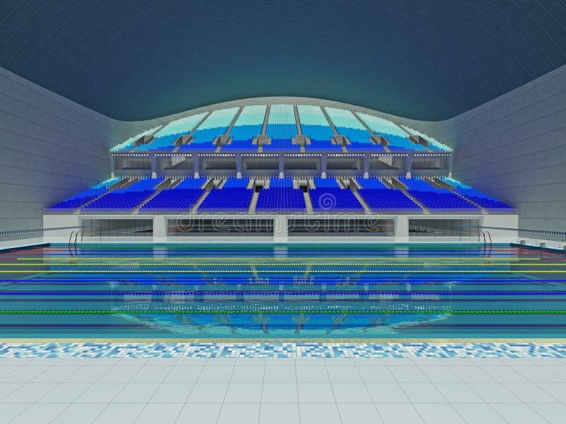 Salowa Olimpijska wielkościowa pływackiego basenu arena z błękitnymi siedzeniami ilustracja wektor