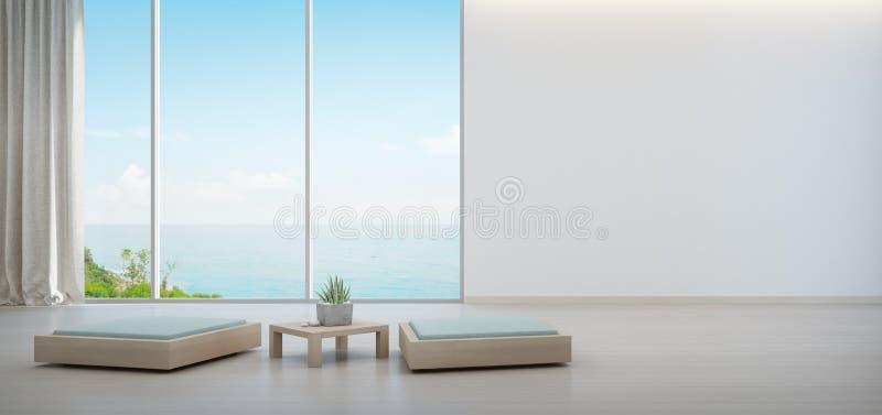Salowa roślina na drewnianym stolik do kawy i minimalny meble z pustym bielem izolujemy tło, hol w dennego widoku żywym pokoju ilustracja wektor