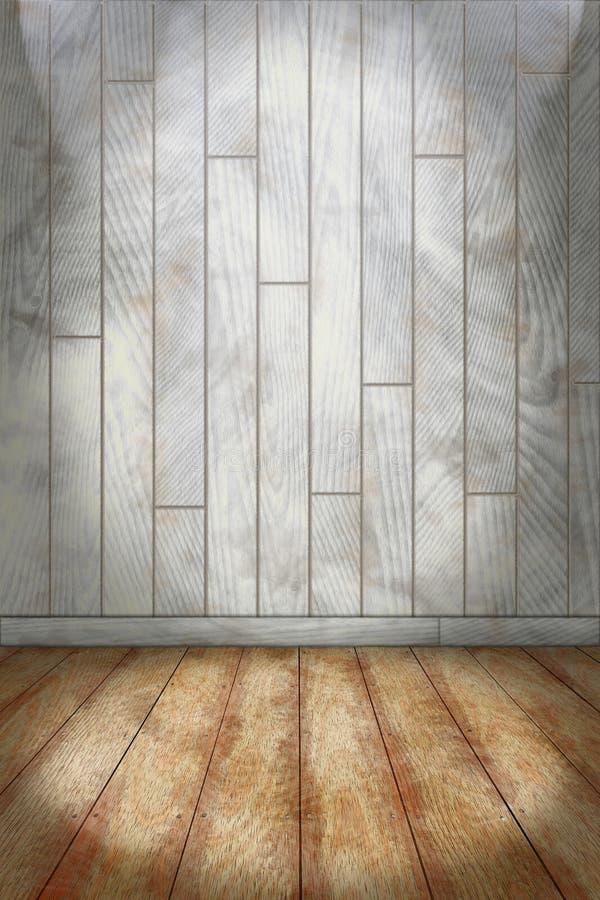 Salowy tło z barwionym ściany i kamienia podłogowym drewnianym planem ilustracji