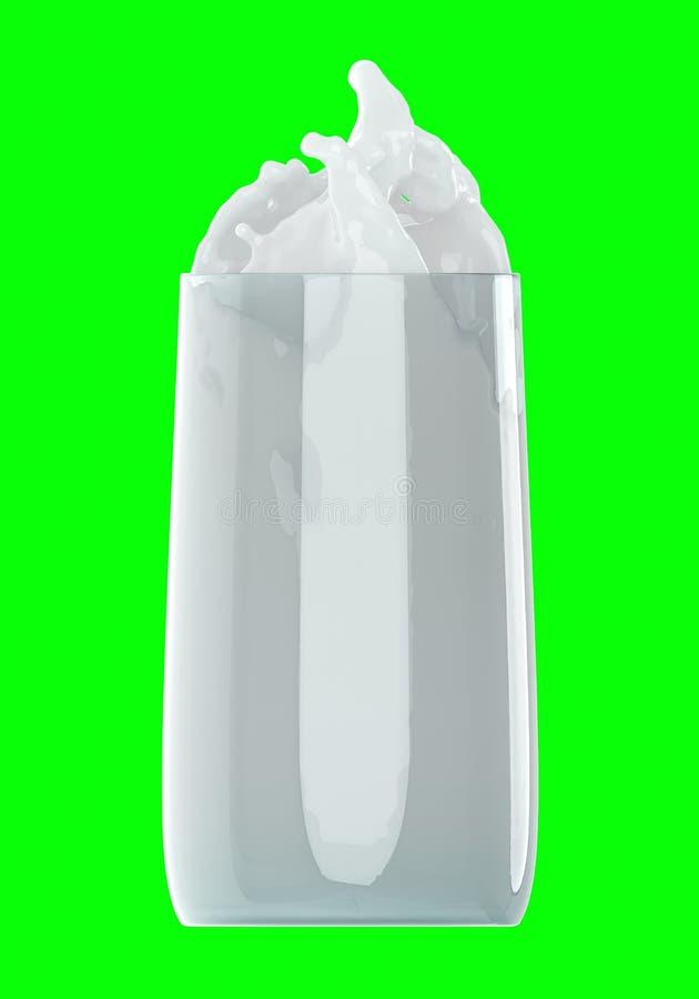 Salpica de la leche del vidrio aislado en verde ilustraci?n 3D foto de archivo libre de regalías
