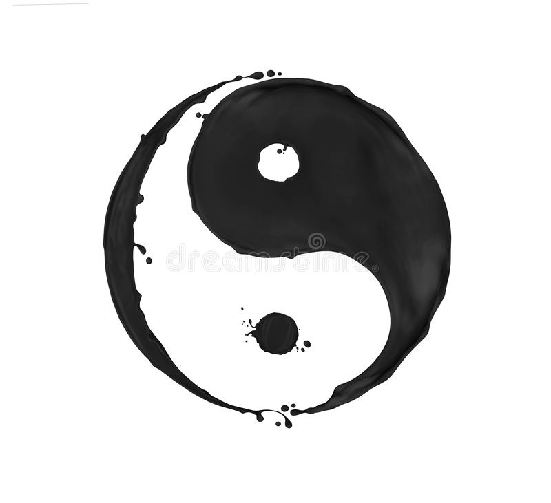 Salpica de la pintura negra en la forma de un s?mbolo de Yin Yang, aislado en un fondo blanco foto de archivo libre de regalías