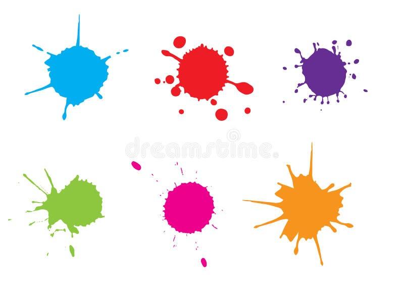 Salpicadura de la pintura del color del vector Sistema del chapoteo Ilustración del vector azul stock de ilustración