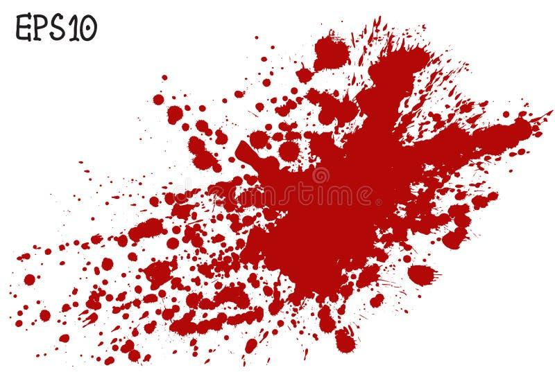 Salpicadura de la sangre, ejemplo del vector Chapoteo rojo en el fondo blanco imagen de archivo libre de regalías