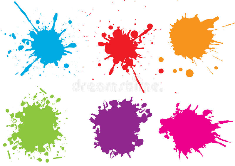 Salpicaduras coloridas de la pintura Pinte salpica el sistema Ilustración del vector stock de ilustración