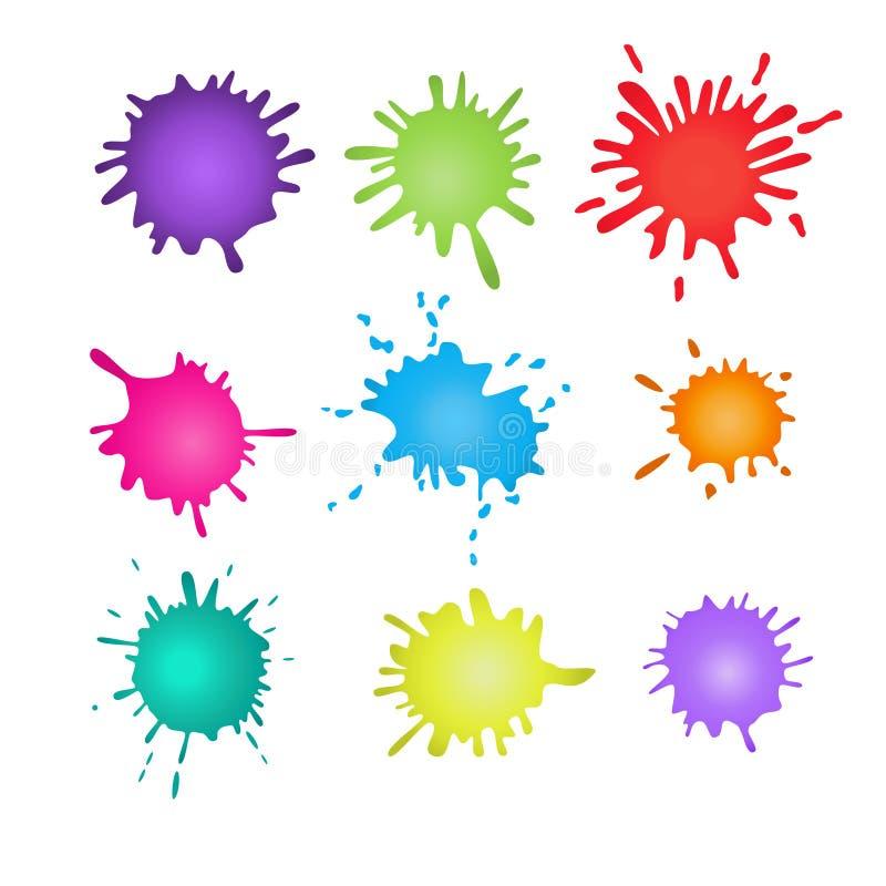 Salpicaduras coloridas de la pintura Salpica el sistema Ilustración del vector ilustración del vector