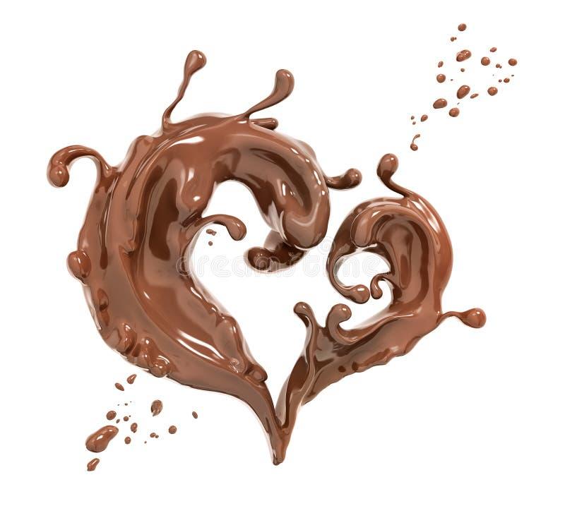 Salpique el fondo abstracto del chocolate, renderi del corazón 3d del chocolate stock de ilustración