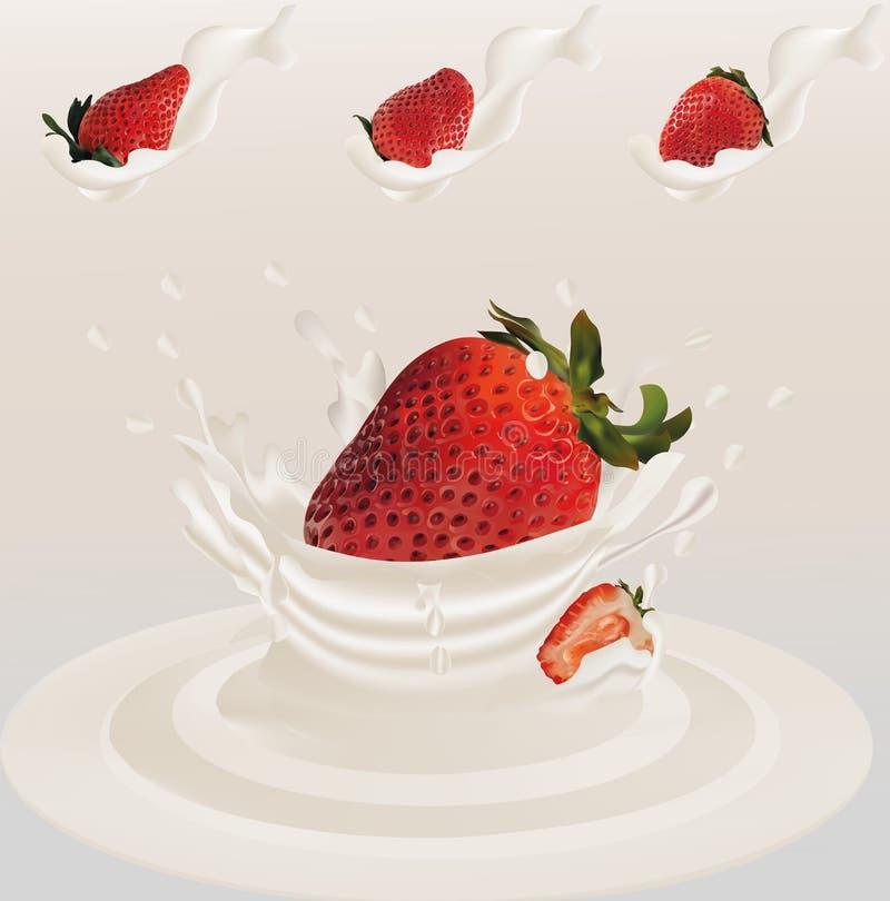 Salpique la fresa en el vector realista 3d de la leche r La fresa del conjunto y de la rebanada con salpica la leche ilustración del vector