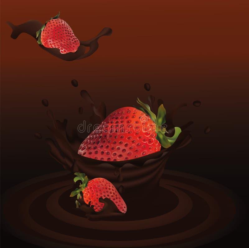 Salpique la fresa en el vector realista 3d del chocolate r La fresa del conjunto y de la rebanada con salpica ilustración del vector