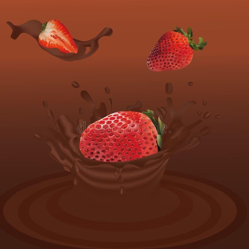 Salpique la fresa en el vector realista 3d del chocolate r La fresa del conjunto y de la rebanada con salpica libre illustration