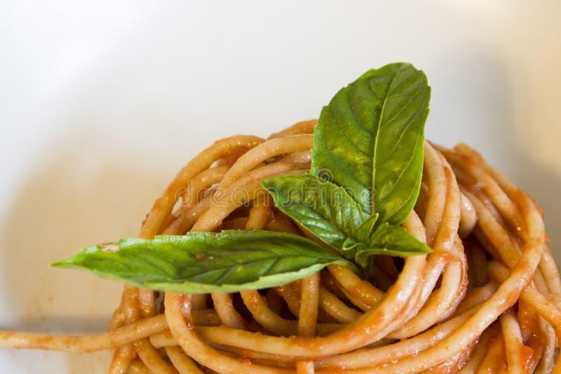 Salsa al pomodoro del briciolo degli spaghetti fotografia stock