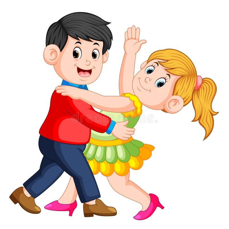 A salsa bonita da dança da menina com seus menino e eles que dançam junto ilustração royalty free