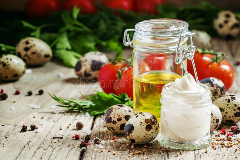 Salsa casalinga con le uova di quaglia, olio di senape, vegetabl della maionese fotografia stock